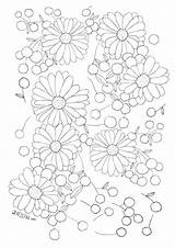 Coloring Flower Collage Collages Doodle Flowers Kwiaty Icolor Colouring Pages Drawing Drawings Embroidery Motifs Adult sketch template