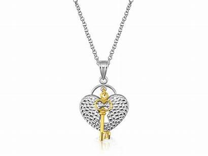 Key Heart Lock Pendant Gold 14k Silver