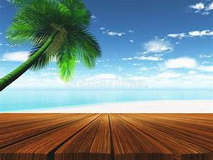 3D Wooden Deck With Tropical Beach In Background Stock ...