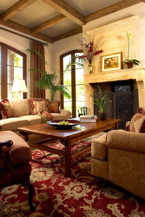 Tuscan Living Room With Stone Fireplace And Note The