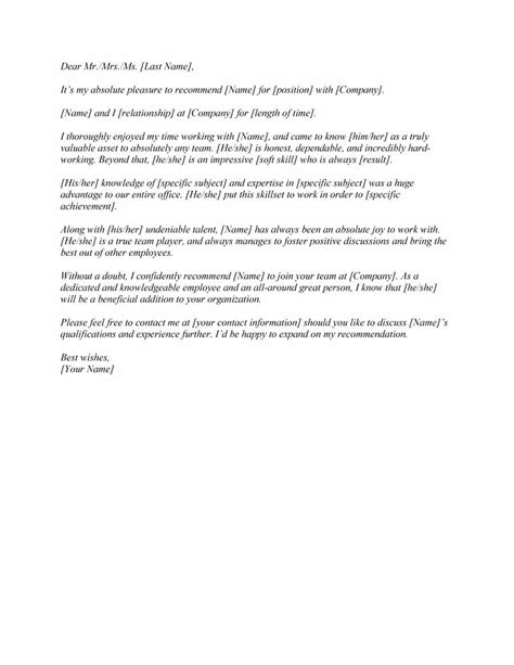 letter  recommendation templates samples