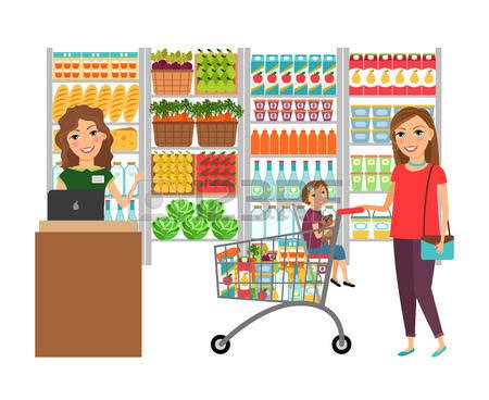 Grocery Store Clipart Clipart Grocery Shopping Pencil And In Color