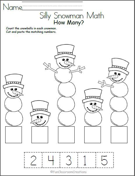 silly snowman math numbers worksheet number recognition