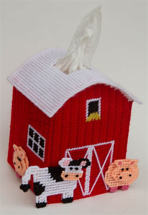 plastic canvas barn tissue topper plastic canvas kitscom