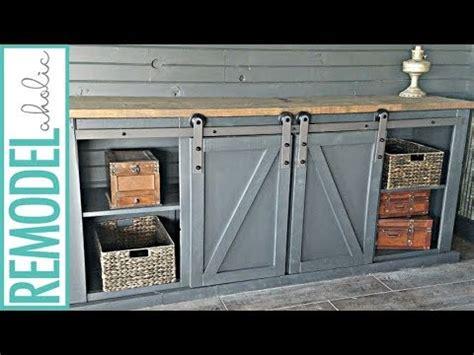 barn door media cabinet how to build a sliding barn door for a media cabinet youtube
