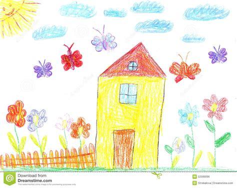 image   child drawing   house stock photo
