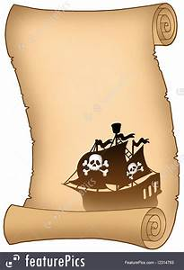 Templates scroll with pirate ship silhouette stock for Pirate scroll template