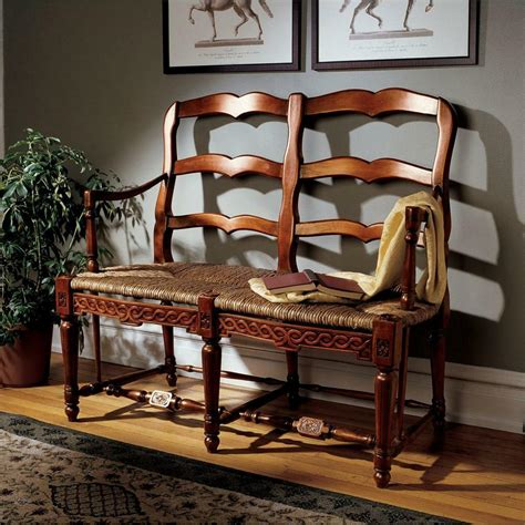 Settee Bench Seat by Country Charm Mahogany Ladderback Woven