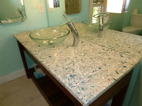 Recycled Glass Bathroom Countertops by Diy Misc Crushed Glass Contemporary Bathroom