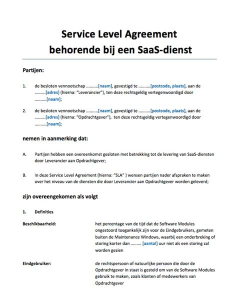 Saas Service Level Agreement Template by Service Level Agreement Sla Saas Diensten Voorbeeld