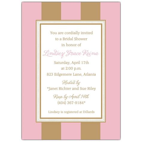 stripe pink gold bridal shower invitations paperstyle