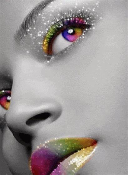 Glitter Splash Gifs Rainbow Eyes Colors Animated