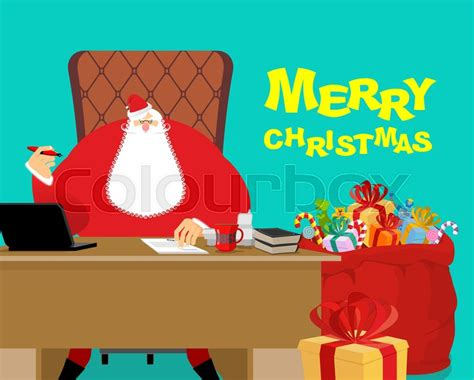gifts for desk at work merry christmas santa claus at work big red bag with