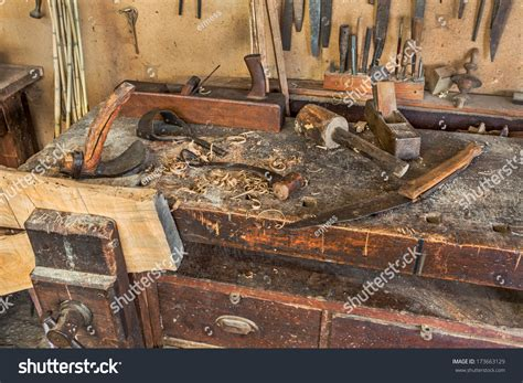 woodworking tools antique carpentry  bench stock photo