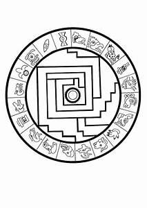 Aztec Sophisticated Calendar Stone Coloring Pages   Bulk Color