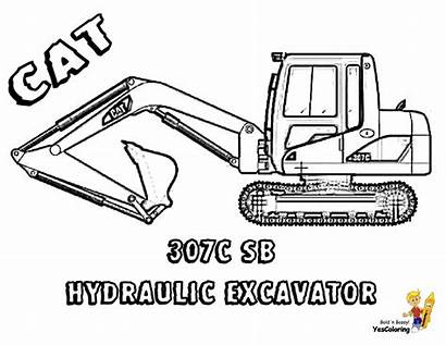 Coloring Construction Excavator Vehicle Digger Cat Pages