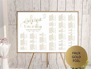 Gold Wedding Seating Chart Template Alphabetical Seating
