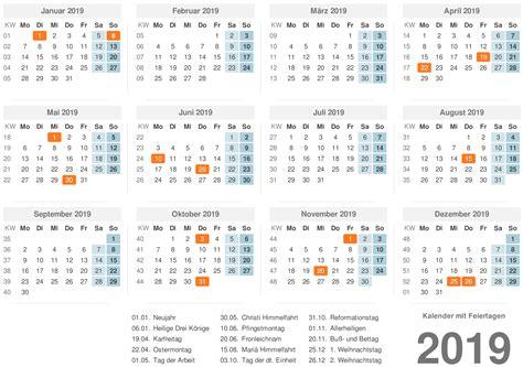 Kalender 2019 Excel, Word, Pdf
