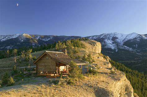 montana cabins for a small log cabin perched cliffside in montana