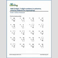 Add A 2digit Number And A 1digit Number In Columns, Missing Addend  K5 Learning