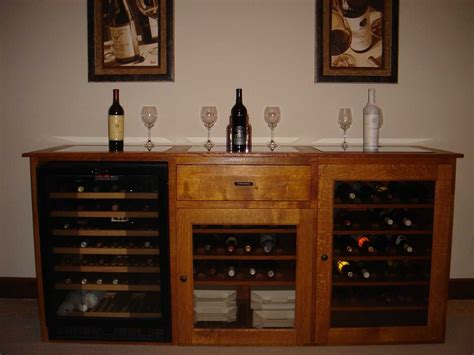 bar cabinet with wine fridge handmade quarter sawn white oak wine cabinet with