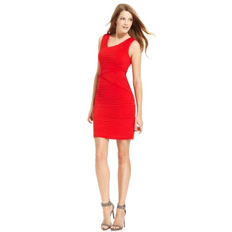 Calvin Klein Sleeveless Pleated Cocktail Dress In Red Lyst