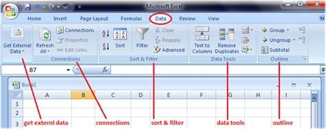 ms excel features of the tabs javatpoint