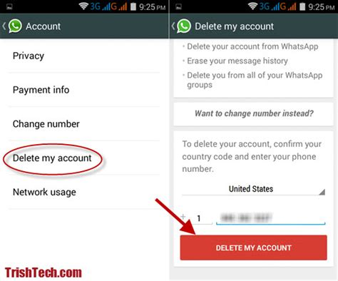 how to delete whatsapp account in android