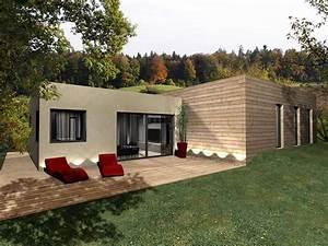 maison bois a toit plat toit terrasse With maison en bois toit plat