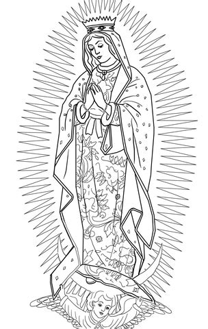 lady  guadalupe coloring page supercoloringcom