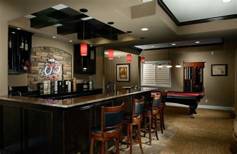 island shaped kitchen layout basement bar ideas with black and white theme