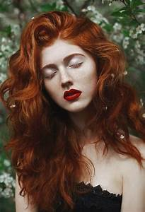 Red Hair Red Lipstick Curly Hair Freckles Pale