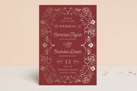 sweet leaves  images fun wedding invitations foil