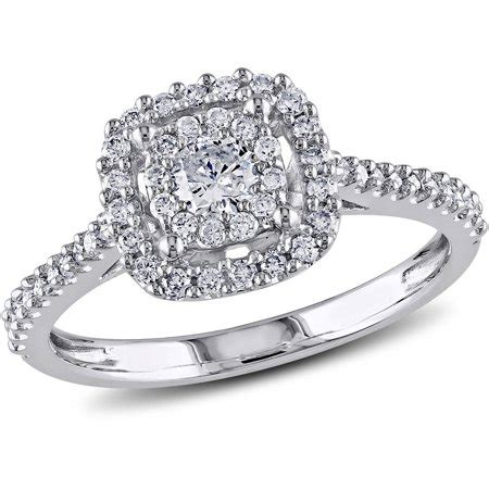 miabella 1 2 carat t w certified 10kt white gold halo engagement ring walmart