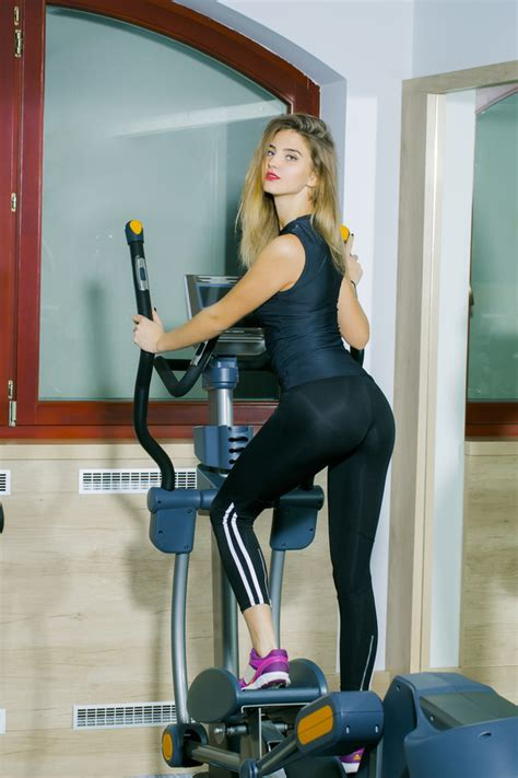 treadmill exercise girl hd picture  people stock photo