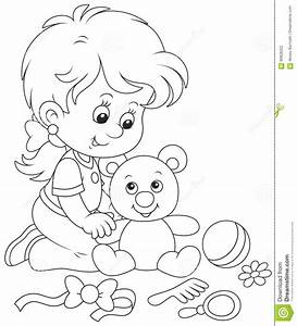 Little girl and Teddy bear stock vector. Illustration of ...