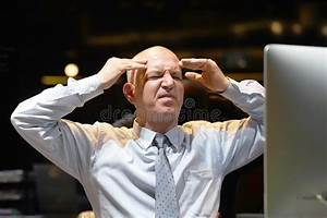 Angry Businessman With Computer Problems Stock Photo