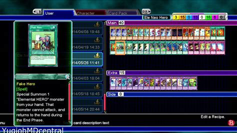 Elemental Deck Recipe 2014 by Yu Gi Oh Md Millennium Duels Elemental Neos Deck