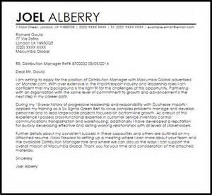 Distribution Manager Cover Letter Sample Livecareer