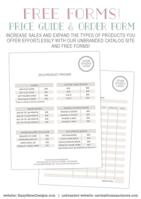 photography forms pricing guide  order form