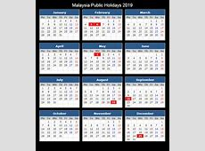 Malaysia 2019 Calendar Template PDF, Excel, Word Public