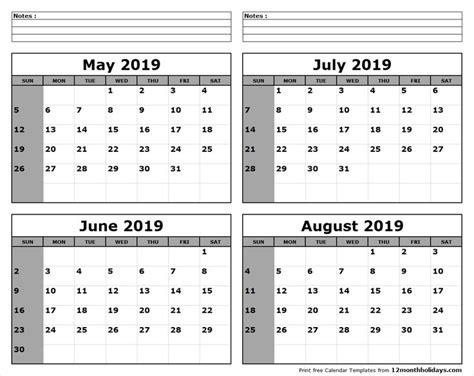 june july august  calendar  print   month