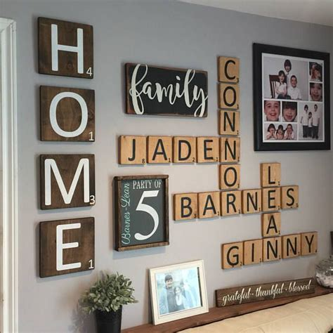home extra large scrabble style letter tiles set   gallery wall decor scrabble wall