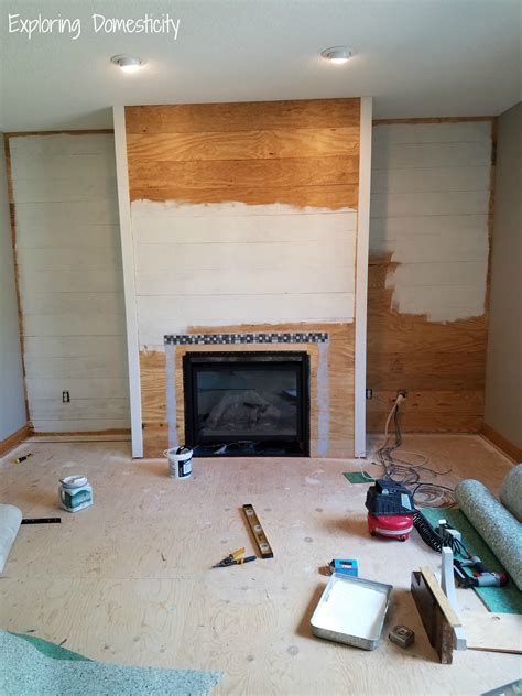 diy faux shiplap fireplace wall exploring domesticity