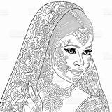Coloring Indian Pages Adult Woman Hand Drawn Illustration Tattoo Zentangle Stylized Vector Adults Cartoon Books Henna Bride Sketch Paisley Colouring sketch template