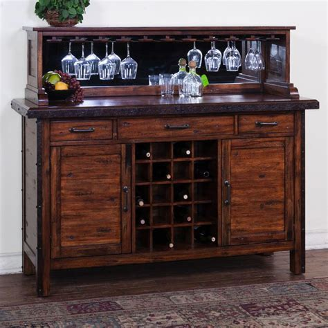 Rustic Server with Wine Rack & Mirrored Hutch   My house