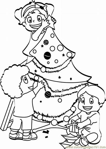 Christmas Tree Coloring Decorating Pages Coloringpages101 Pdf