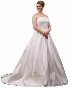 ivory strapless a line plus size wedding dress with beaded With ivory plus size wedding dresses