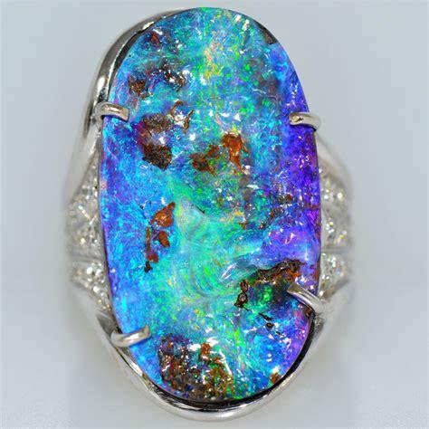 large ct australian opal ring 18k white
