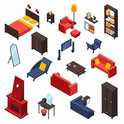 Furniture Living Icons Vector Clipart Isometric Vectors
